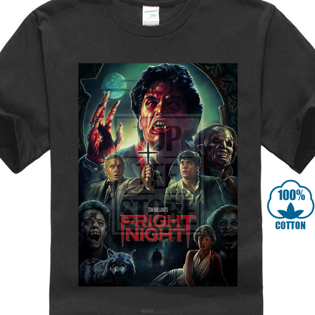 2017 Newest Popular Fright Night 80 S Horror Movie Poster Custom 3D Printed  Men s T Shirts 100% Cotton Short Sleeve Tee 04a5b092e