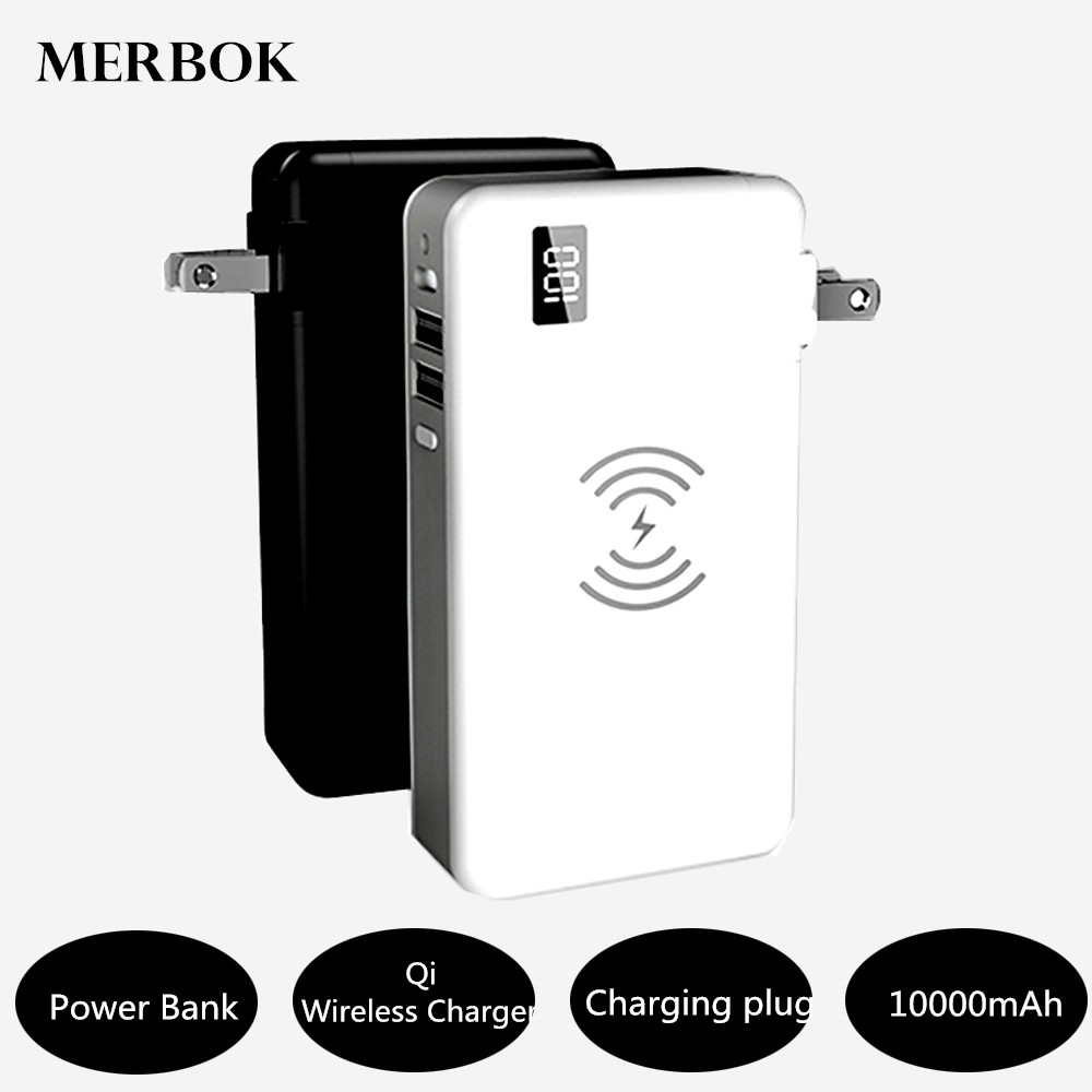 Qi Sans Fil chargeur pour samsung Galaxy S8/S9 Plus/S7/S7 bord note 8 PowerBank 10000 mAh Portable QC3.0 PD Type-C Voyage Chargeing