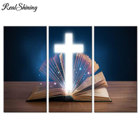3 Pieces 5D Diy Diamond painting Open Holy Bible With Glowing Christian Cross full drill diamond emboery home decoration FS4569