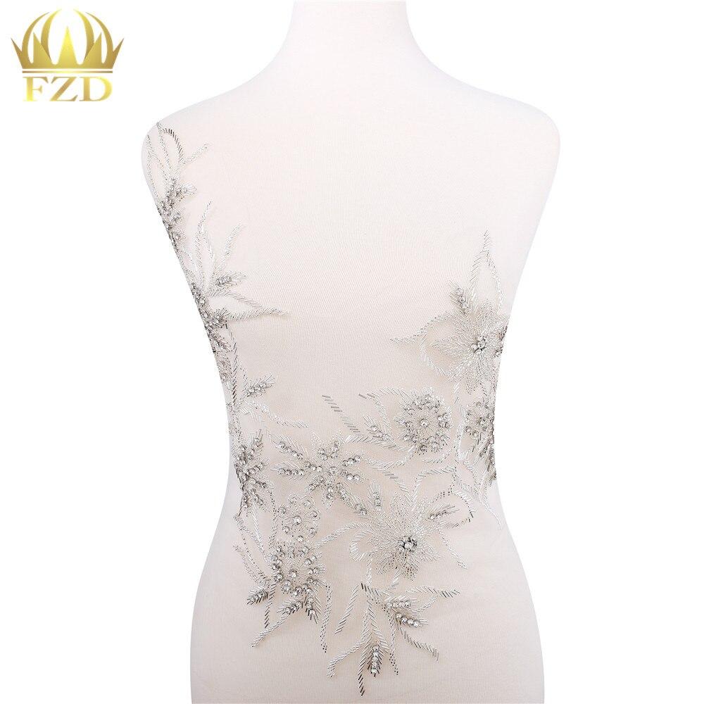 1 ensemble pur fait à la main coudre sur strass applique sur maille argent cristaux patchs de fleurs pour robe avant et arrière perles accessoire