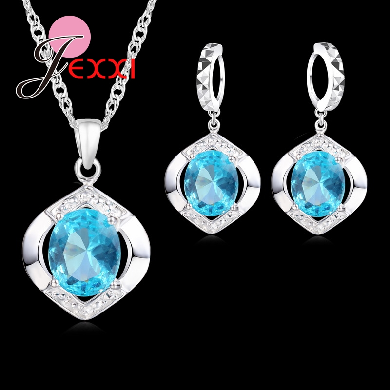 JEXXI Classic 100% 925 Sterling Silver Top Grade AAA++ CZ Zircon Wedding Engagment Necklace+Hoop Earring Blue Jewelry Sets Gifts