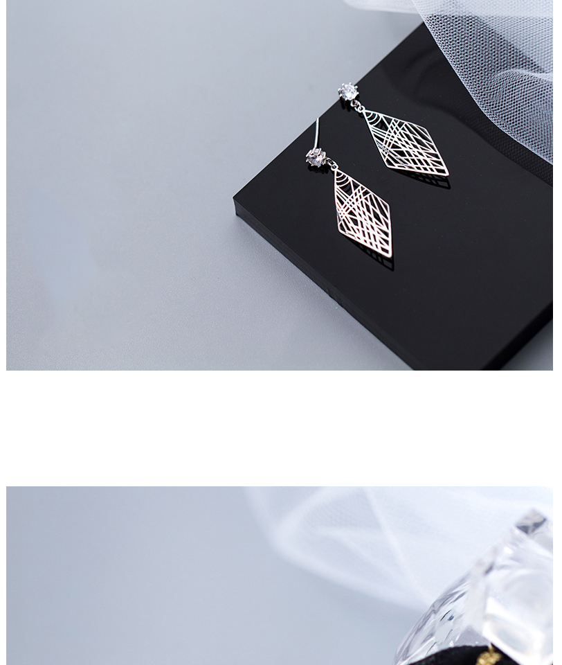 Popular Women 925 Silver Drop Dangle Earrings Jewelry For Girl Lady Party Engagement Gift Sterling Silver Geometric Earrings (1)
