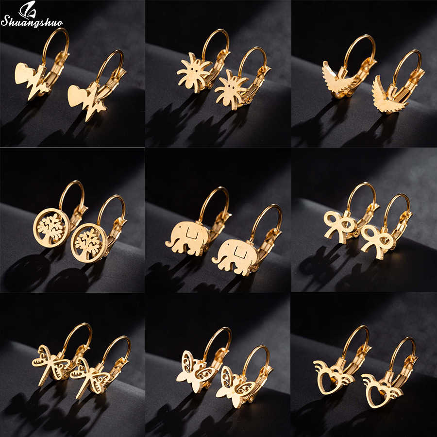 Shuangshuo جديد الذهب هندسية الحياة شجرة مجوهرات أقراط نسائية الفولاذ المقاوم للصدأ شجرة الحياة مربط القرط الشرير نمط جولة الأذن ترصيع