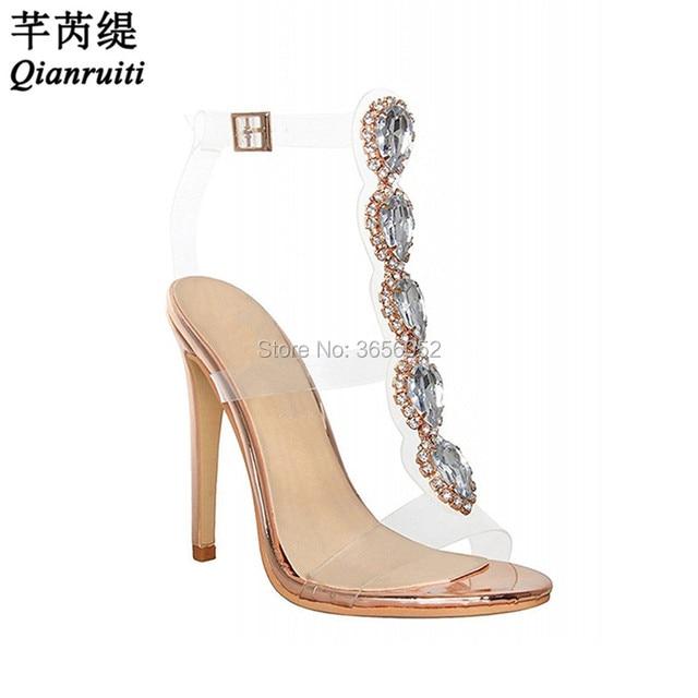 a804812a0eafe ... Qianruiti Luxury Jewelled Gemstone Bling Wedding Shoes Bridal Clear PVC  Stilettos Buckle Strap High Heels Crystal ...