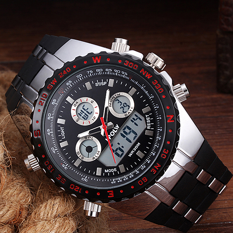 HPOLW Sport Military Men Digital Watch Army Clock Male Brand Waterproof Wrist Watches LED Electronic Watch relogio masculino цены