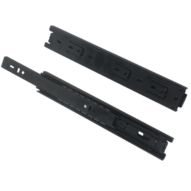2pcs 19''Length Drawer Sliding Rail 40mm Width Black Cold-Rolled Steel Fold Telescopic Ball Bearing Drawer Cabinet Slide Runner