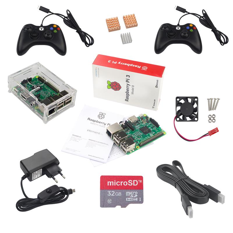 Prix pour Raspberry Pi Jeu Kit Raspberry Pi 3 + 2 Contrôleur de Jeu + 32 GB Carte SD + Adaptateur + Acrylique Cas + Câble HDMI + Dissipateur de Chaleur + Ventilateur