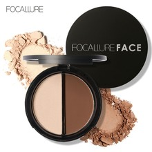 FOCALLURE Highlight Bronzing Dou Powder Palette Highlighter and Bronzer Face Powder 2 Color Waterproof Whitening Pressed