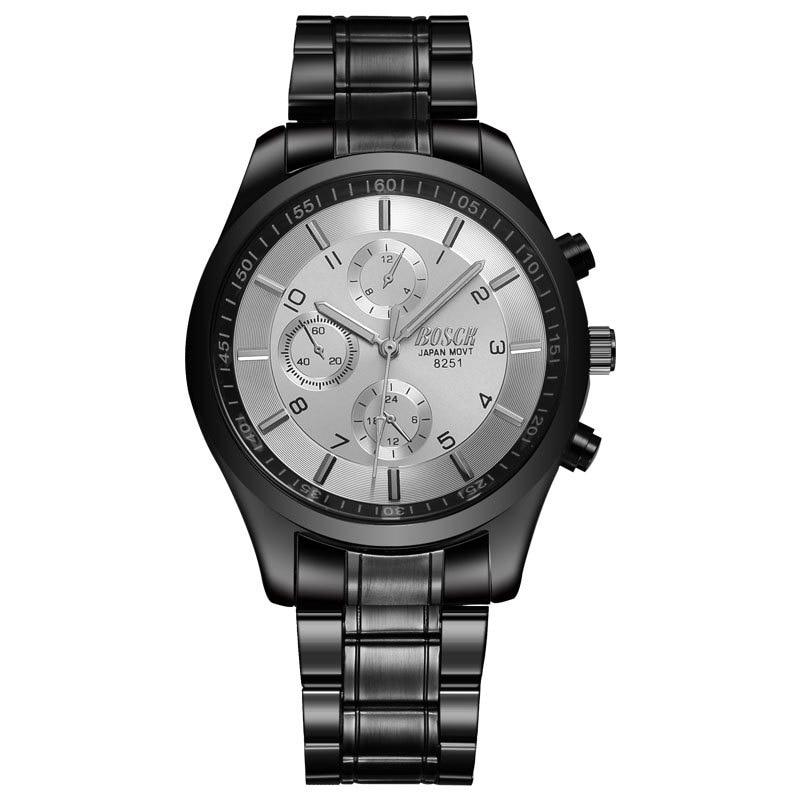 Top Luxury Brand Bosck Men Vattentät Stainless Steel Band Watch - Herrklockor - Foto 6