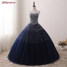 fd3ec2ff7 Azul Marino princesa Vestidos de quinceañera balón vestido con cuentas  Masquerade prom dulce 16 Vestidos bola