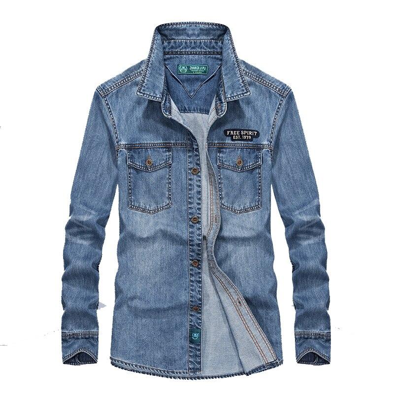 Brand AFS JEEP Denim Shirt Men Long Sleeve Autumn Casual Shirts Camiseta Masculina Men Clothes 2018 Retro Jeans Men Shirts