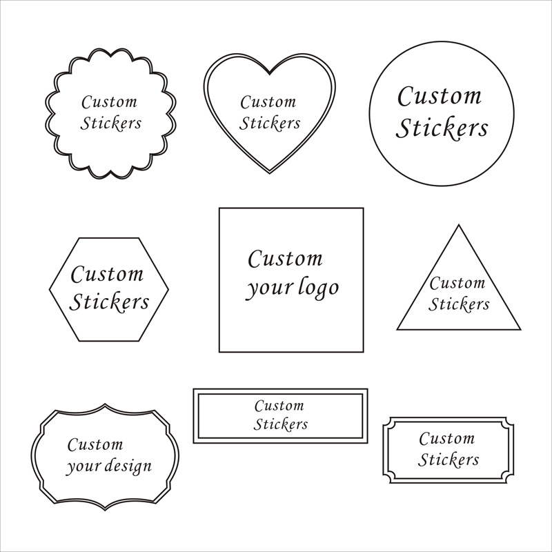 Custom Packaging Stickers Label Wedding Stickers Personalise Black LOGO Custom Round Squar label Gift Decoration Any