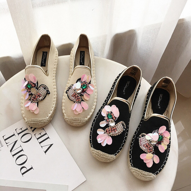 2019 Spring Women Espadrilles Flats Crystal Flowers Hemp Fisherman Shoes Ladies Soft Casual Leisure Shoes Slip On Lazy Loafers