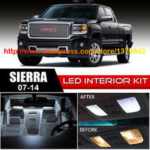 Free Shipping 14Pcs/Lot car-styling Xenon White Package Kit LED Interior Lights For 07-14 GMC Sierra