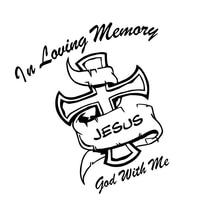 38*35 cm In Loving Memory God met Me Cross JEZUS Badge Zijdeur Hood Achter Voorruit Auto Styling Sticker Decal Black wit
