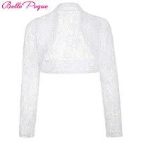 Poque Belle 2017 מזדמן מעיל נשים שרוול ארוך קצוץ הלבן משיכת הכתפיים בולרו החתונה תחרה שחורה Laides מעילי בגדי הלבשה עליונה