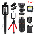 2017 All in1 Phone Camera Lentes Kit 8x Zoom Telephoto Lens Microscope Fish eye Wide Angle Macro Lenses For iPhone Huawei Xiaomi