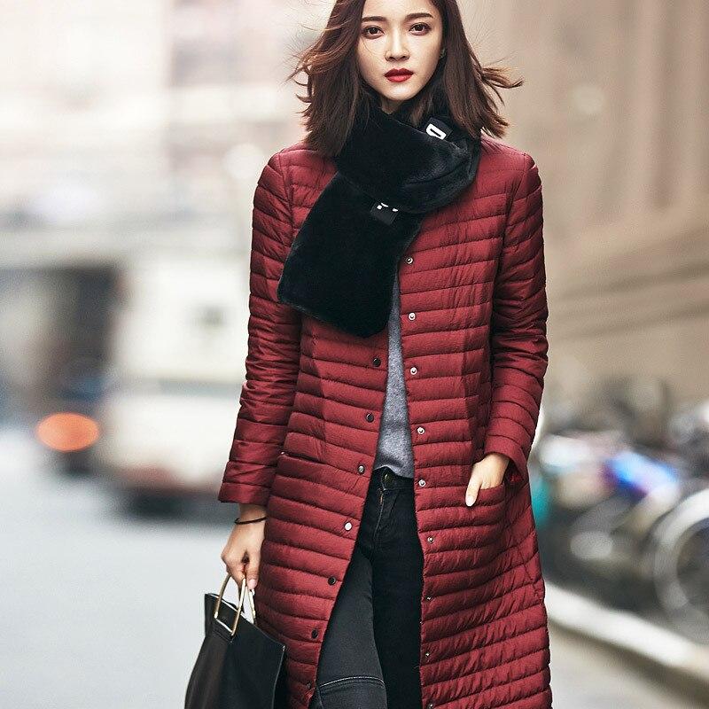 2016 new Autumn winter 90% white duck long down jacket womens Ultra light weight brand down coat female outerwear S-XL F16-190E