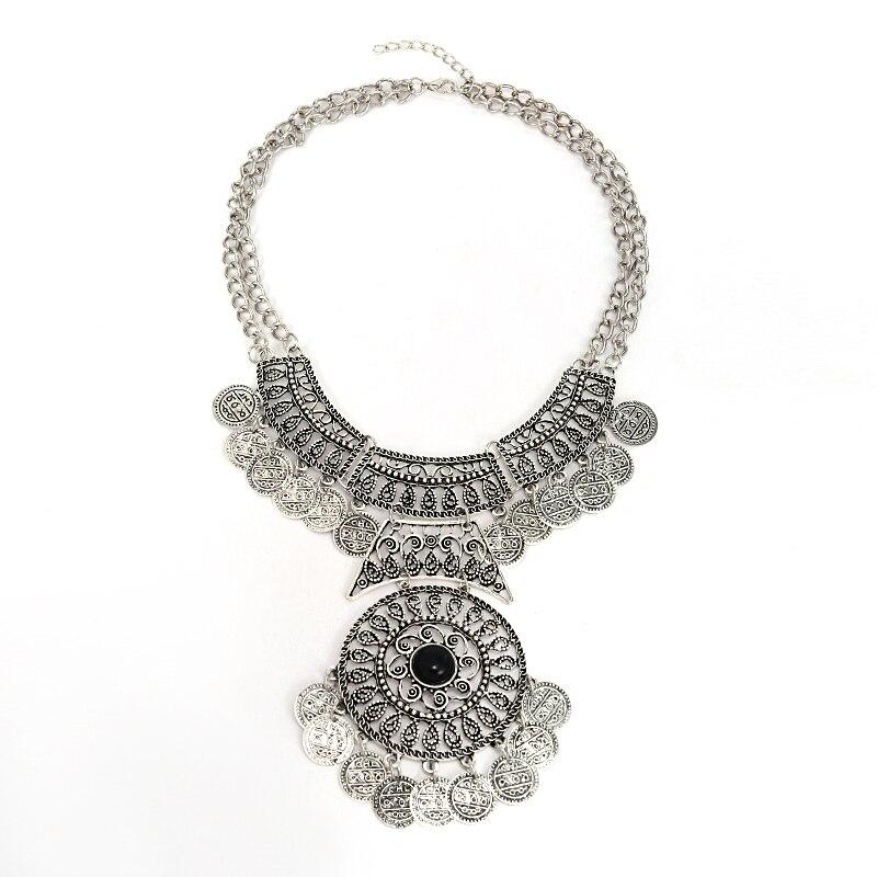 16122ad435b5 Circle Choker Necklaces Vintage Statement Pendant Necklace Women Boho  Double Costume Jewellery