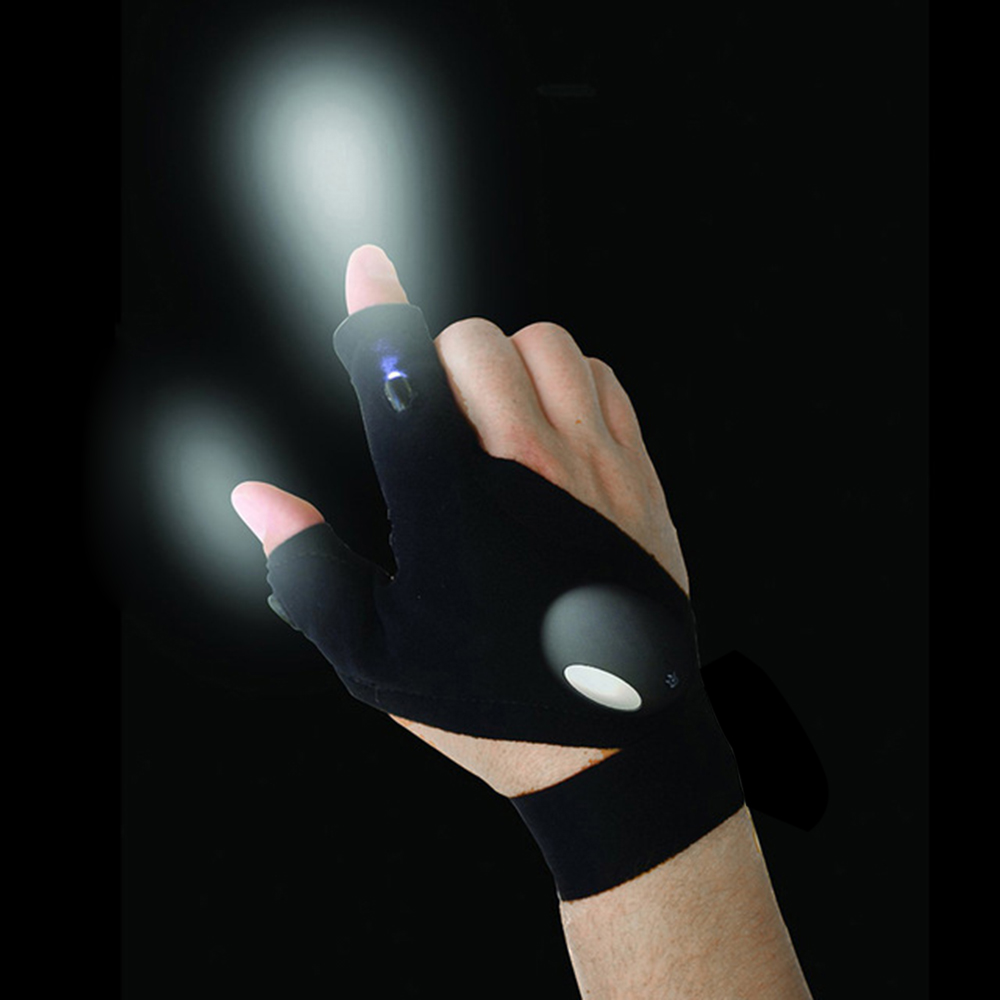 Magic Strap Auto Repair Tool Fingerless Gloves LED Flashlight Quick Repair Gloves Multipurpose Flashlight Gloves