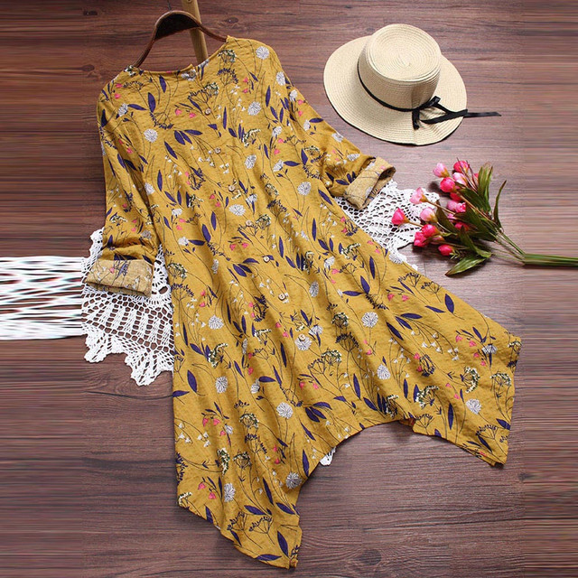 Plus Size 5XL Womens Tops and Blouses 2018 Vintage Floral Print Long Sleeve Long Shirts Tunic Harajuku Ladies Top Clothes 1