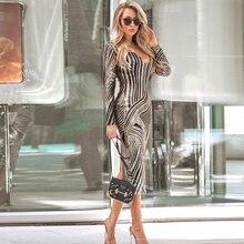 Сексуальное длинное платье с золотыми блестками, Женское Платье макси с v-образным вырезом, длинные рукава, тянущаяся сетка, геометрический узор, блестящая задняя часть, вечерние платья