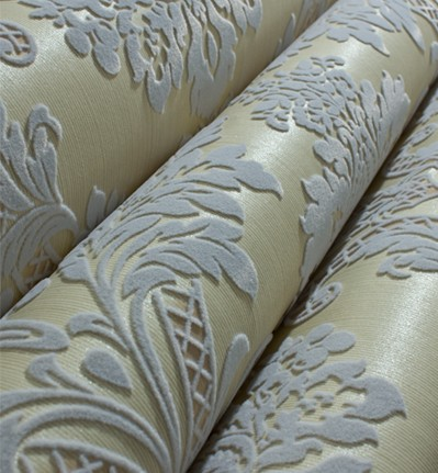 Fashion 3D Velvet Damask Flocking Wallpaper TV Background Roll Living Room купить недорого в Москве