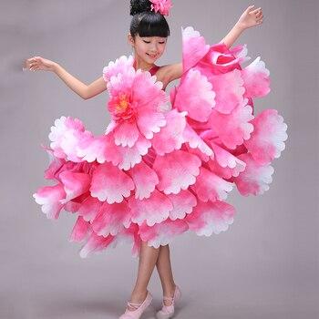 dc18815d36250 Traje de baile Flamenco expansión pétalo falda traje vestido de Flamenco  español ropa desgaste del funcionamiento para Girsl niños DL2888