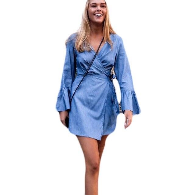 Womens Denim Dress Short Sleeve Dress Cross f3zAbI