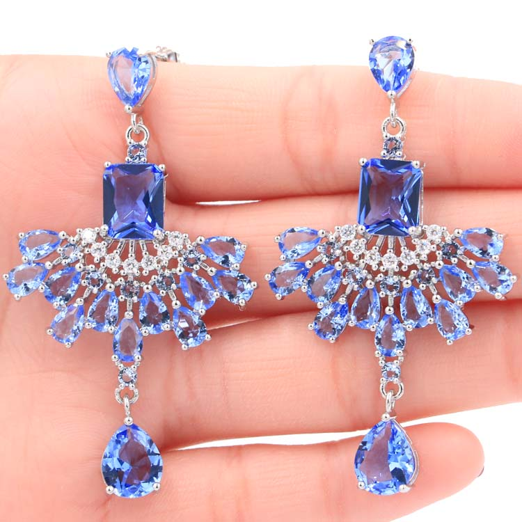 Long Big Heavy Rich Blue Violet Tanzanite White CZ Woman's Gift Silver Earrings 60x34mm