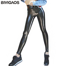 BIVIGAOSผู้หญิงฤดูใบไม้ร่วงสีดำPUหนังLeggingกางเกงกำมะหยี่หนาหนากางเกงขายาวเซ็กซี่Push Up Leggings Skinnyกางเกงผู้หญิง