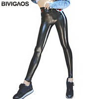 Womens Autumn Winter Leggings Black PU Leather Pants Velvet Thick Warm Leggings Slim Sexy Push Up