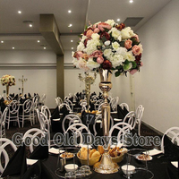 98cm Tall Gold or silver Metal Flower Vase Table Centerpiece For Wedding decoration 10pcs/lot