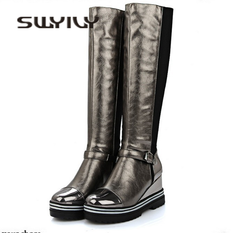 SWYIVY Knee High Long Boots Woman Wedge 2018 Autumn Winter Warm Female Fashion Shoes 34 43