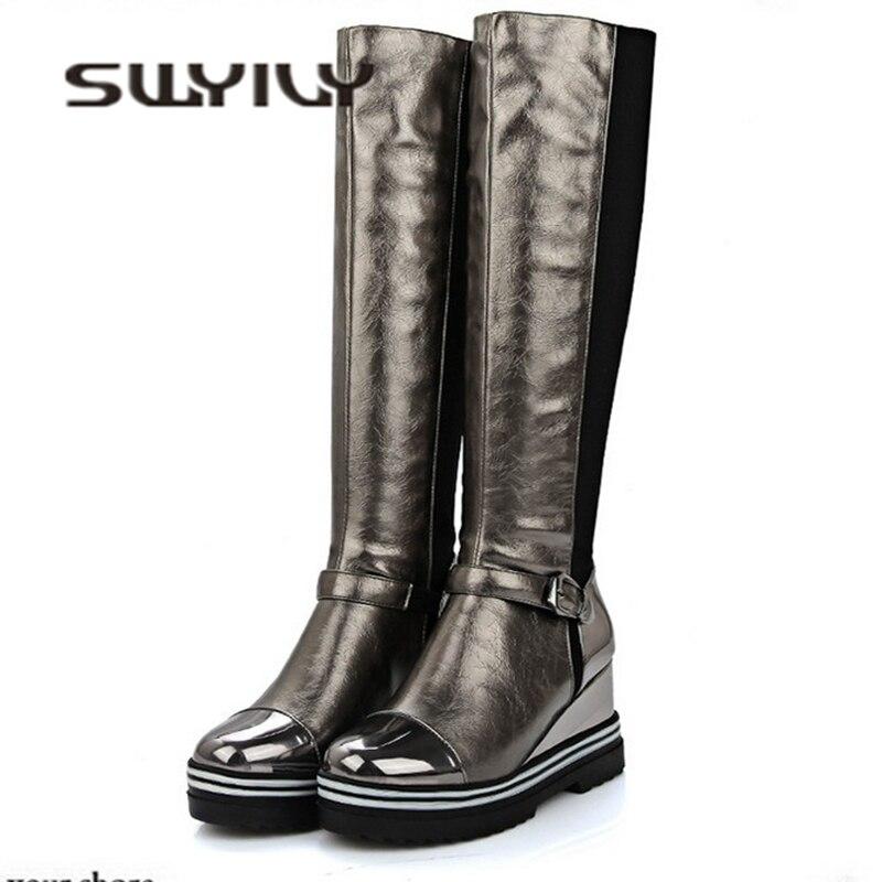 d49c606f4be SWYIVY hasta la rodilla botas largas Mujer cuña 2018 otoño invierno cálido  mujer moda Zapatos 34-43 terciopelo cálido señoras sexy botas para la nieve