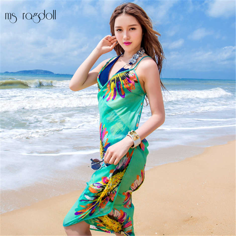 97bcdd220eeb Detail Feedback Questions about 2018 New Summer Women Beach Cover Up Lady  Thin Sexy Swimsuit Cover Ups Backless Print Sunscreen Saida De Praia Cover  Ups on ...