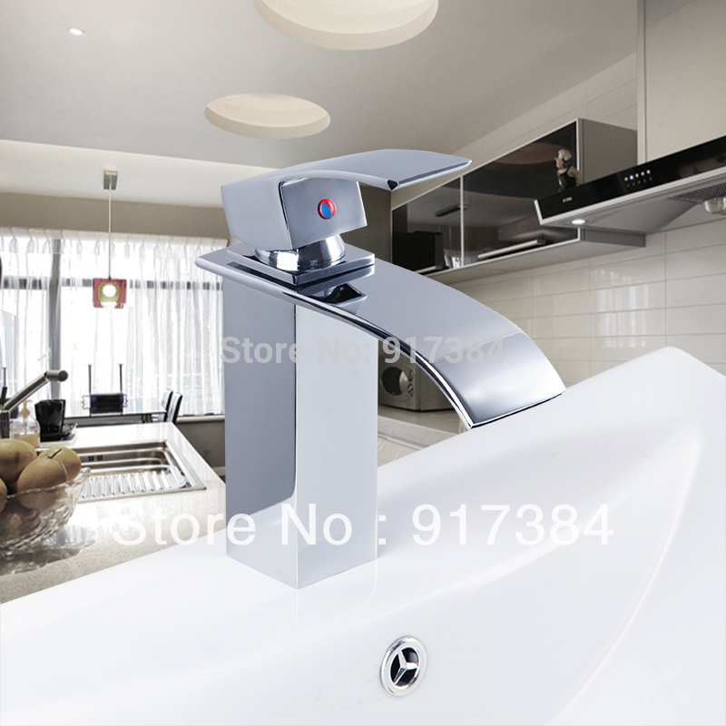 New Brand Deck Mounted Single Handle Bathroom Waterfall Spout Brass Wash Basin Sink Mixer Tap Chrome