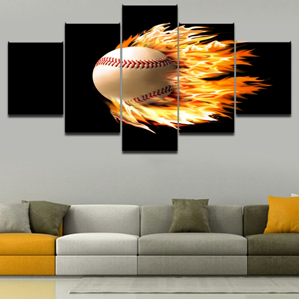 Modern Canvas Wall Art HD Printed Pictures Home Decor 5 Pieces Abstract Poster Flame Tennis Sport Painting For Living Room Decor