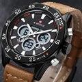 NAVIFORCE Mens Watches Top Brand Luxury Sport Quartz Watch Men Military Wristwatch Leather Strap Fashion Led Digital Watch