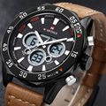 Naviforce mens relógios top marca de luxo relógio do esporte de quartzo dos homens pulseira de couro relógio de pulso militar moda levaram relógio digital de