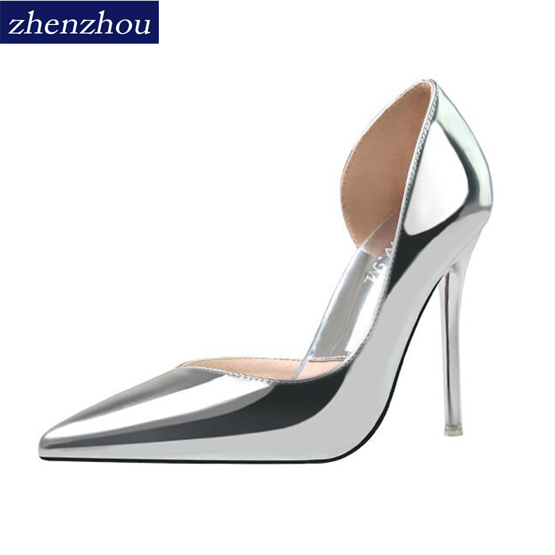 2018Fashionable sexy nightclub sharp head is thin and hollowed-out single shoe metallic face shallow mouth OL simple high heel.