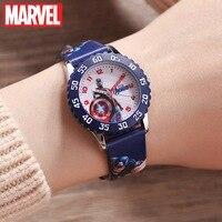 마블 어벤져 스 캡틴 아메리카 아이언 남자 어린이 블루 레드 PU 밴드 쿼츠 방수 시계 디즈니 버클 아날로그 손목 시계 아이
