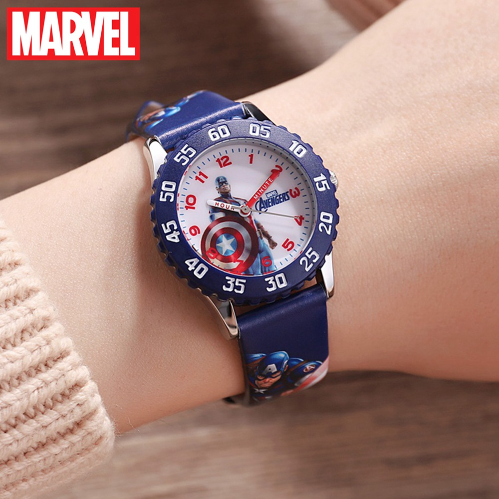 Marvel Avengers Captain America Iron Men Children Blue Red PU Band Quartz Waterproof Watches Disney Buckle Analog Wristwatch Kid