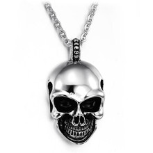 Classical Stainless Steel Skull Man Pendant Necklace Personality punk style 316L Link Chain Jewelry Gift
