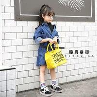 SexeMara Children's clothing 2017 autumn new Korean girl denim dress solid color shirt denim dress children's clothing