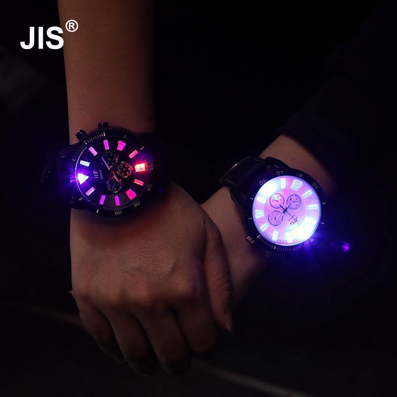Fashion JIS Brand Big Dial LED Backlight Rubber Sport Watch Wrist Watch For Men Women Unisex Black White Red