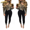 Adogirl 2017 Sexy Tops Autumn Camouflage Print Hole Long Sleeve V-Neck Bandage Women T Shirts Fashion Casual Poleras De Mujer