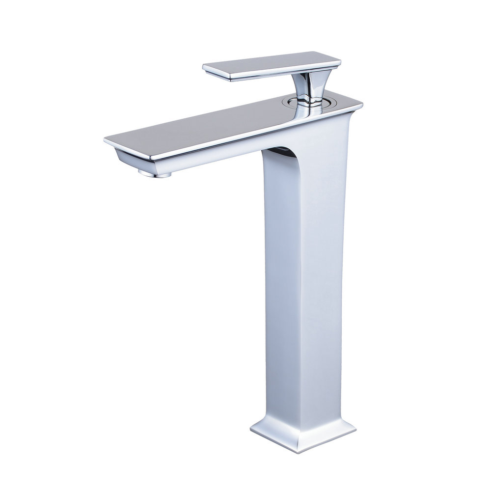 Chrome Tall Bathroom Basin Faucet Counter Top Basin Cold/Hot Water Mixer Tap Vessel Sink Single Handle/Hole Brass Fixture matte black faucet hole cold and hot water basin faucet basin sink mixer tap brass made single handle single basin crane al 7808