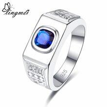 Lingmei atacado banda noivo casamento jóias princessbluewhite zircon prata cor anel tamanho 6-9 frete grátis