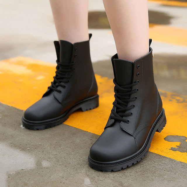 6e20d4afd18 US $10.08 64% OFF|Wear resistant Women Boots Non slip Ankle Boots Round Toe  Women Shoes Rubber Boots Waterproof Rain Boots Autumn Ladies Shoes-in ...